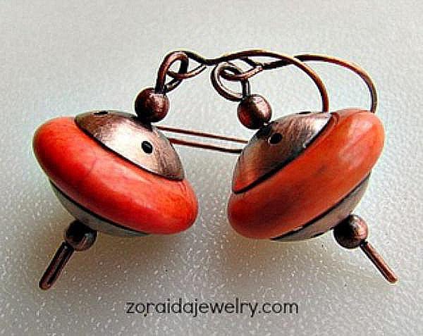 Украшения из проволоки, серьги с оранжевым камнем